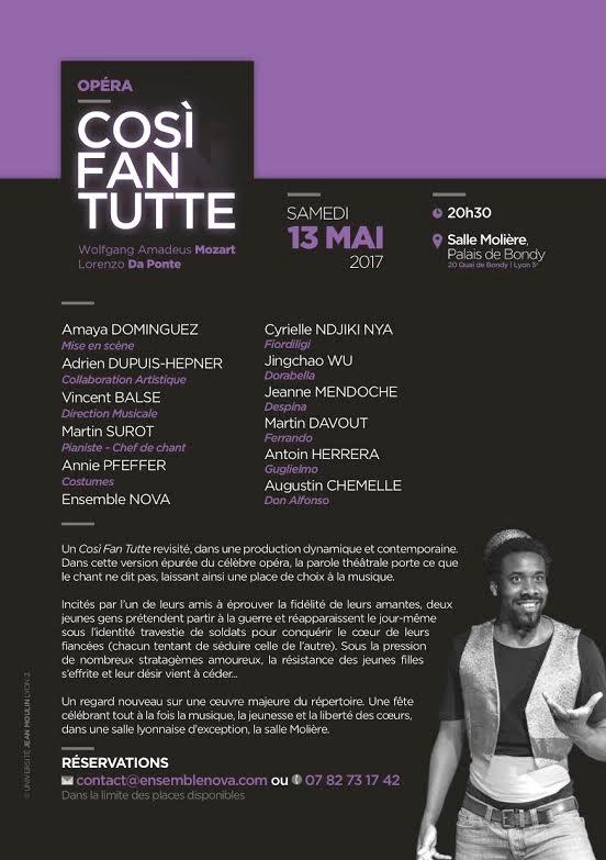 Cosir Fan Tutte le Samedi 13 Mai 2017 à la salle Molière - Lyon 5ème
