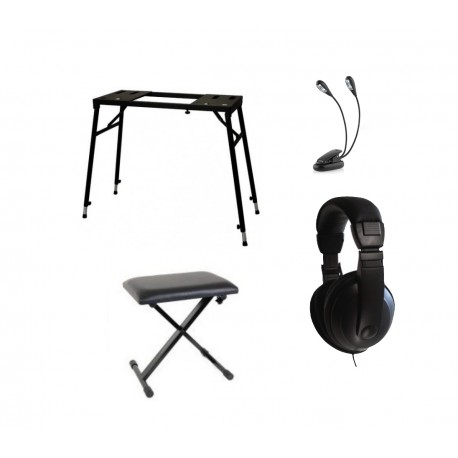 PACK PROMO Stand table + Banquette en croix + Lampe pupitre clip + casque