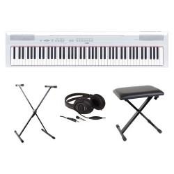 Pack : Piano numérique YAMAHA P 105 Noir ou Blanc Mat + Banquette en X + Casque JVC