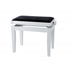 Banquette Piano réglable Blanc mat / velours noir