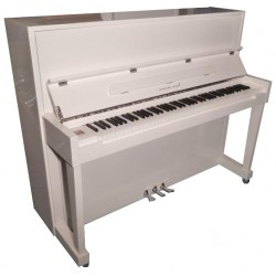 PIANO DROIT Hermann Jacobi H118 Blanc brillant / Chrome