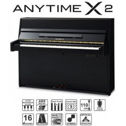PIANO DROIT KAWAI K-15e ATX2 110cm Noir Brillant