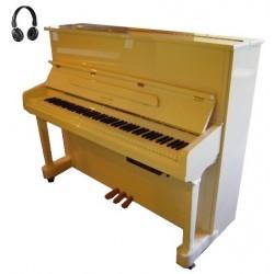 "PIANO DROIT GEORGE STECK US-22T ""all night"" Blanc Brillant"